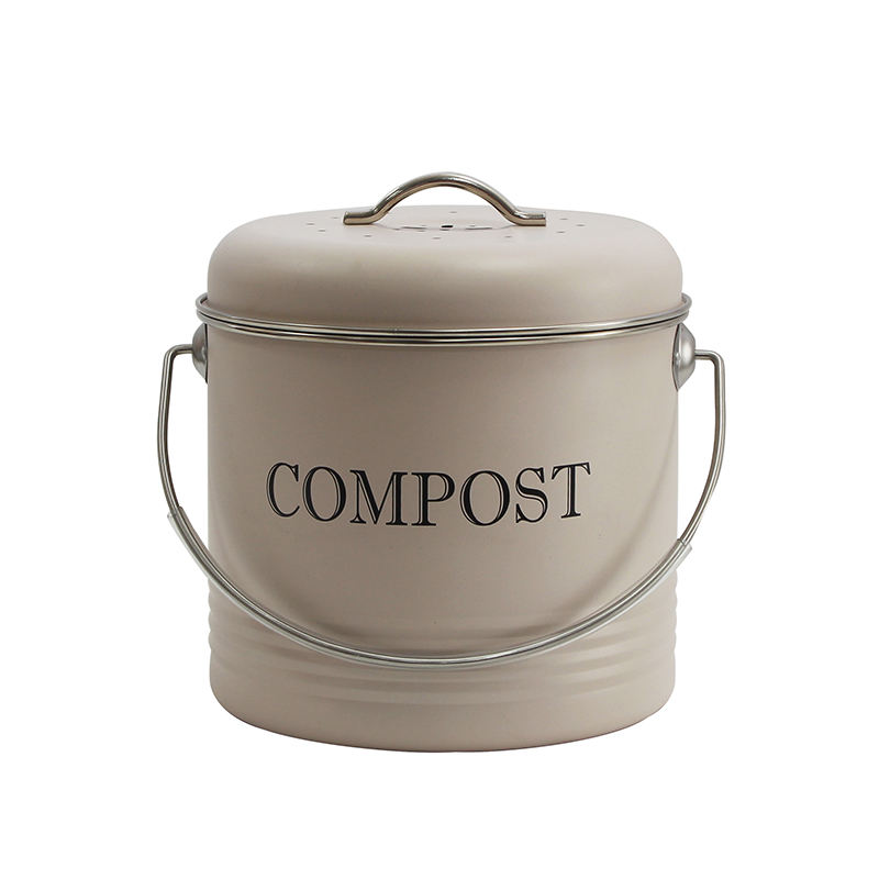 Wholesale Garden or Home Indoor 1 Gallon Powder Coated Galvanized Steel Countertop Kitchen Compost Bin