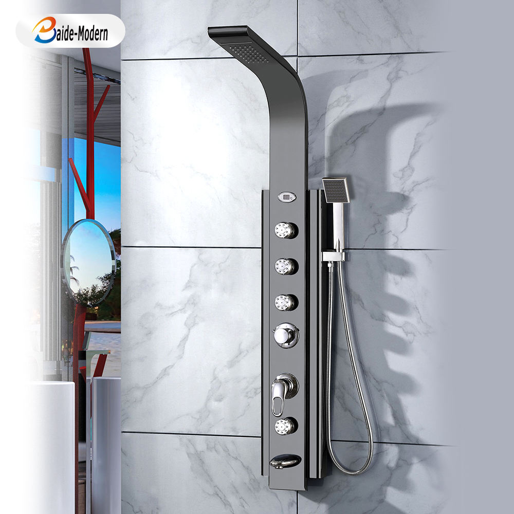 Thermostatic Hot And Cold Shower Set Stainless Steel Massage Panel Electric Shower Head With Led Digital Screen Body Jets