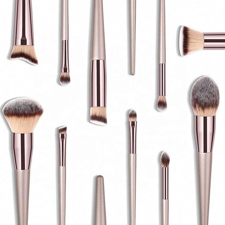 Customized Multifunctional Rose Gold Wooden Natural Mekup Brush Make Up Functions Makeup Tools And Brushes