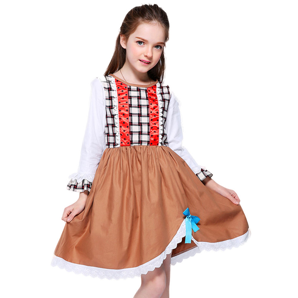 Kseniya Kids Brown Young Girls Dresses Long Sleeve Kids Dress Frock Design Girls Holiday Outfits