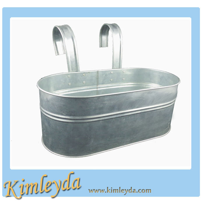 double handles galvanized tin balcon pot