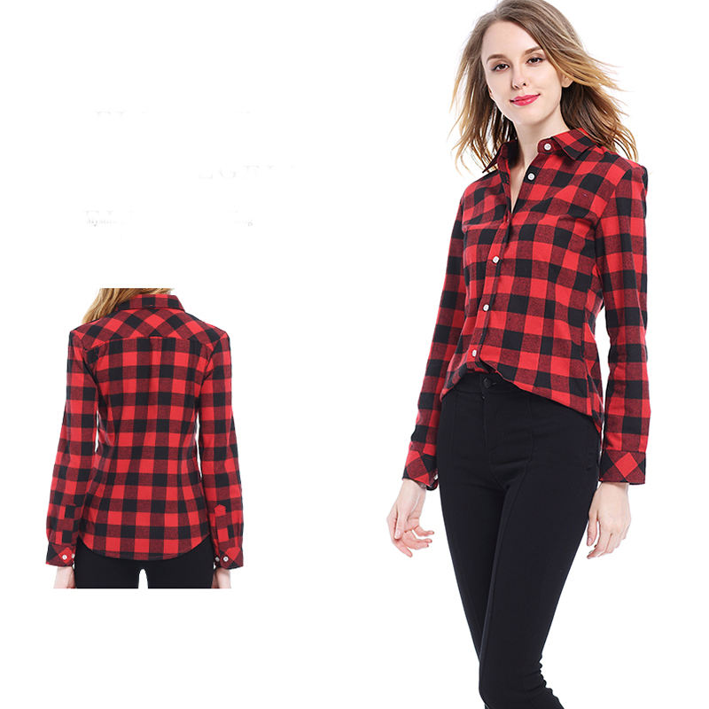 Wholesale Long Sleeve Women Shirt Tops Turn-down Collar Checked Casual Women Cotton Plaid Blouses