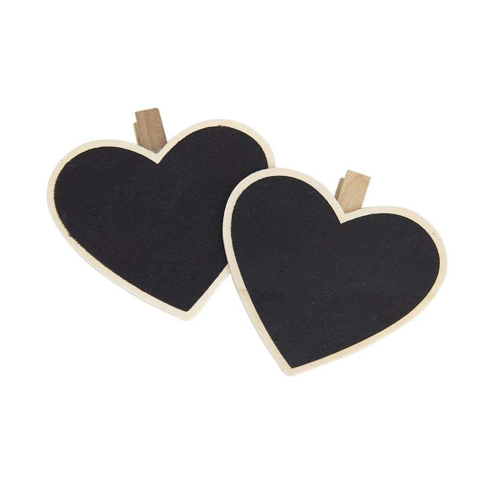 8 Pcs a Forma di Cuore Lavagna Pioli di Legno Photo Note Clip di Carta Lavagna Set