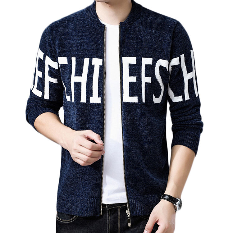 Latest design Chenille fall Korean casual men's sweater cost standing collar custom blue sport jacket knitting mens track suits