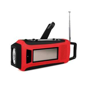 Manivela Solar de Emergência Digital FM/AM/NOAA Weather Radio com Lanterna LED & Phone Charger & Screen