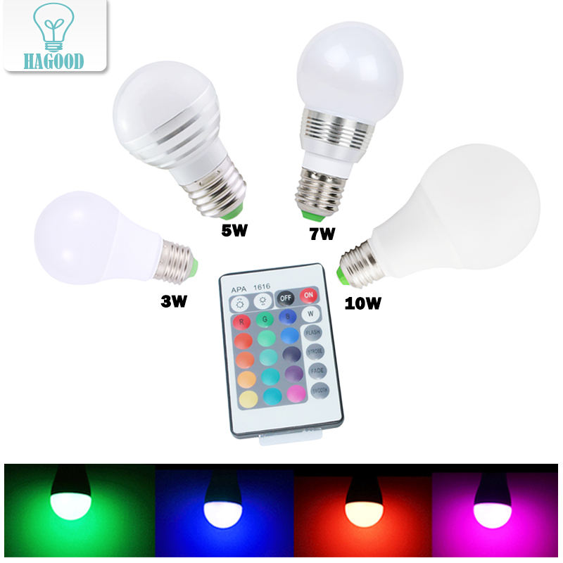 E27 LED Change 16 Colors RGB Bulb Light Lamp AC 85-265V RGB Led Light + IR Remote Control Christmas Decoration Lights Lampada
