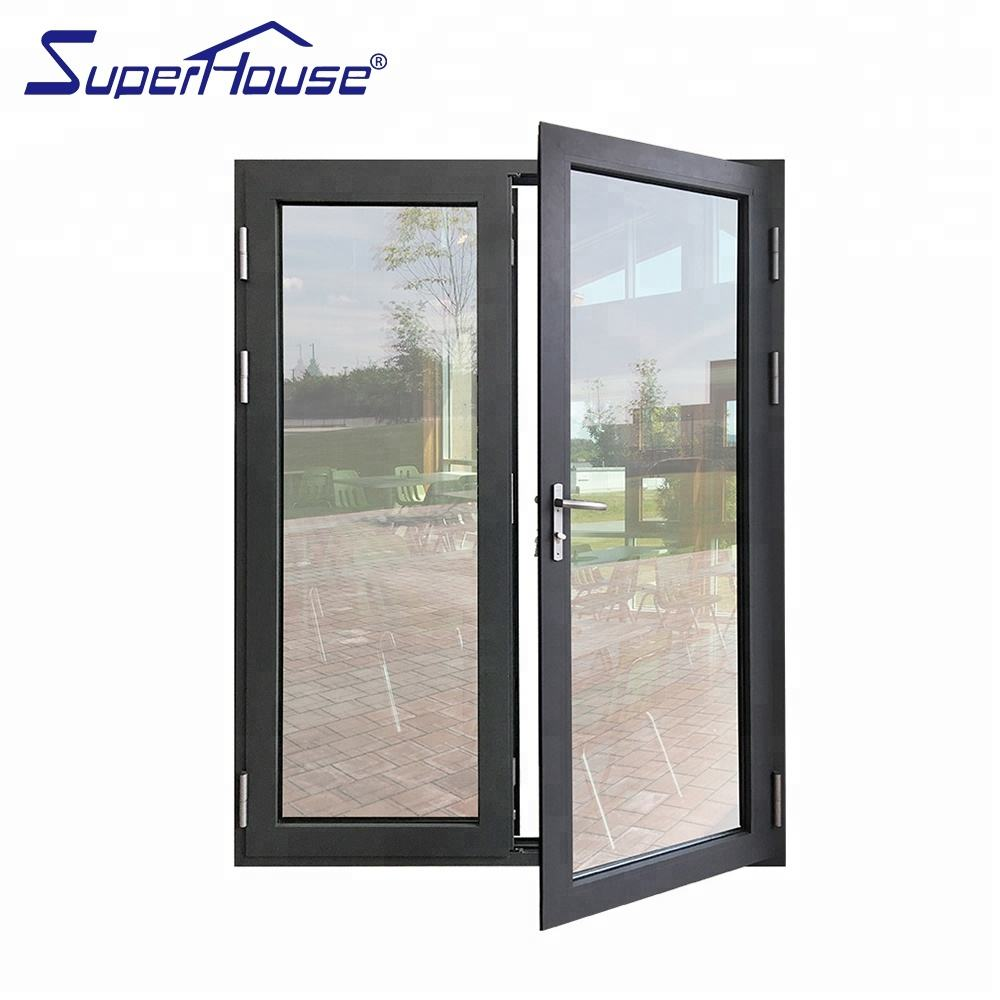 Superhouse double glass aluminium soundproof used exterior french doors for sale