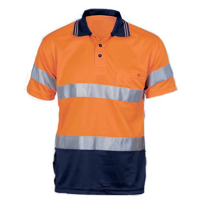 Sicherheit fluoreszierende orange hemd 100% polyester hallo vis reflektierende günstige uniform polo shirts