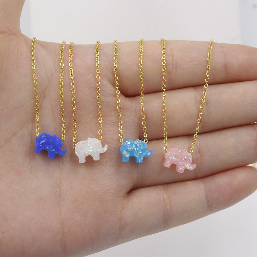 Personalized Stainless steel chain Lucky animal charm kids children jewelry Opal elephant pendant necklace
