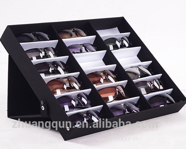Foldable 18 Slot Cardboard Fiber Reading Sunglasses Storage Display Suitcase Box