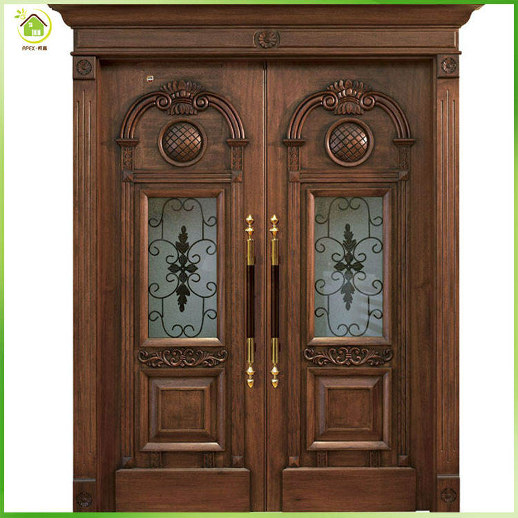 Hot sale qatar teak or walnut solid wood main door for house