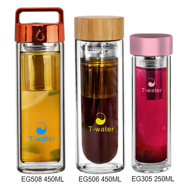 Custom bpa free glass water tea bottle fruit infuser drink water bottle with bamboo top