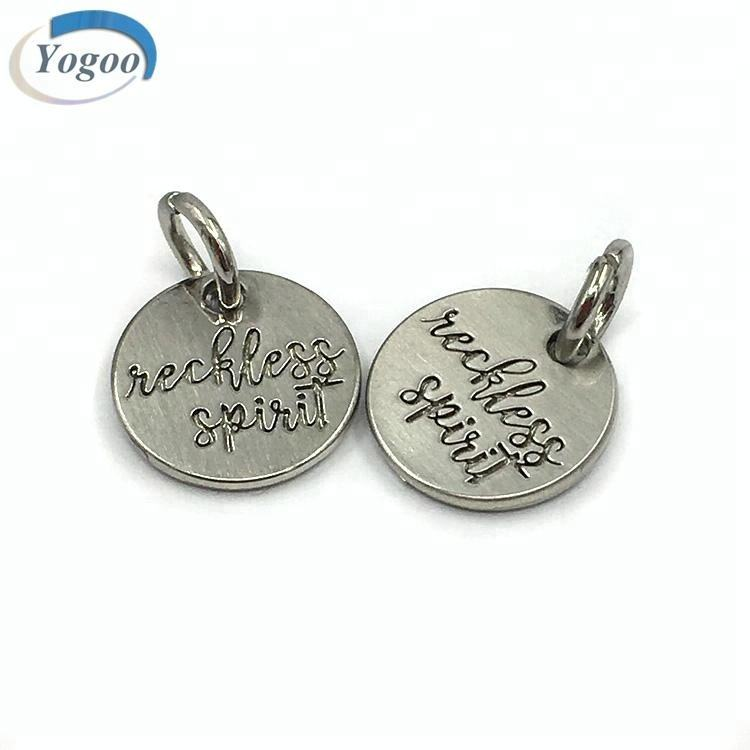 New Small Brushed Silver Custom Made Engraved Metal Logo Charms for Bracelet