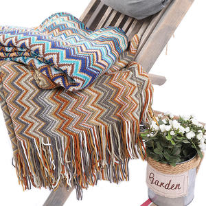 New design colorful Bohemian style warp knitting lightweight travel down throw blanket with tassels
