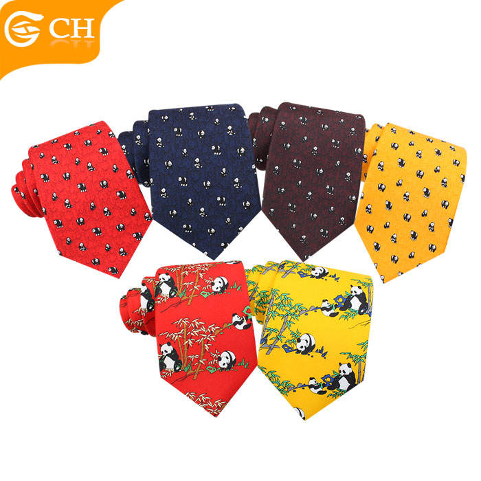 Custom High Quality Panda Printed Polyester Chinese Style Animal Neckties For Men