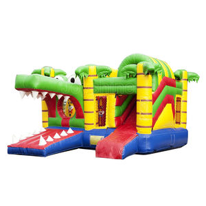 Inflatable Jungle Crocodile Themed Bounce House Kids Jumping Bouncer Air Bouncy Castle Combo Slide