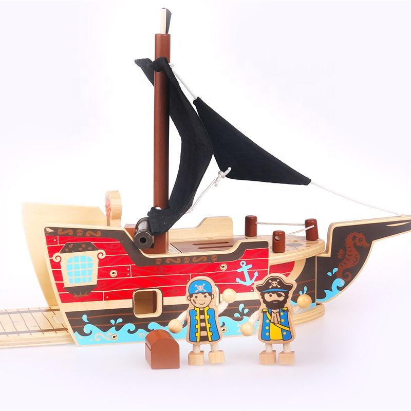 2018 USA wooden Child Diy Pirate boat play set toy for the kids play educational toys WOT004