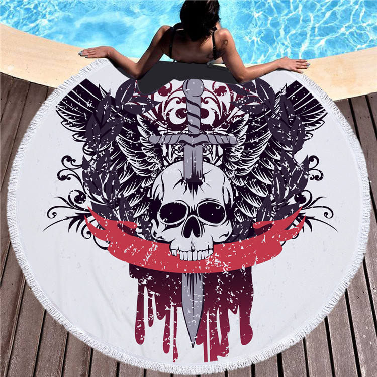 Multi-purpose custom personalized quality Printed round beach towel designs with fringefor sale
