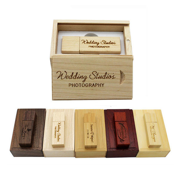 Photography Customized Logo Wooden USB Gift Box USB Flash Drive USB 3.0 8GB 16GB 32GB Wedding Gifts