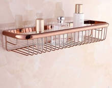Wholesale Brass Rose Golden Wall Mounted Shower Caddy Shelf Storage Basket For Bathroom