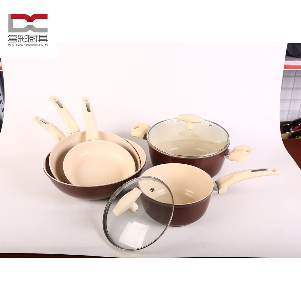 Factory NewPopular Style 7Pcs Carbon Steel Cream Color Ceramic Non Stick Cooking Cookware Set With Lid