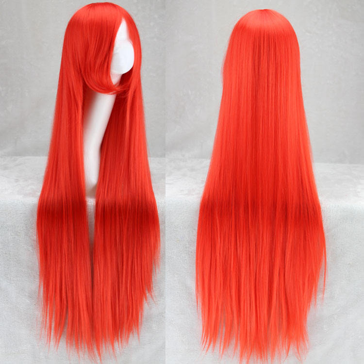 Long Straight Cosplay Wig Red Fan Wig 40inches 100 Cm Synthetic Hair Wigs