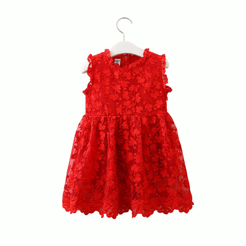 Red Lace Petti Girls Dress Sleeveless Summer Kids Girls Party Clothes Floral Chiffon Dress for 1-6T
