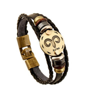 Promotional Gift Leather Alloy 12 Constellations Jewelry Zodiac Bracelet