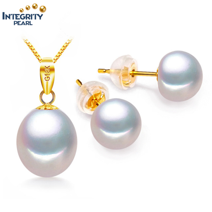 latest design 18K gold wholesale Real freshwater pearls set round pearl necklace and earring pearl jewelry