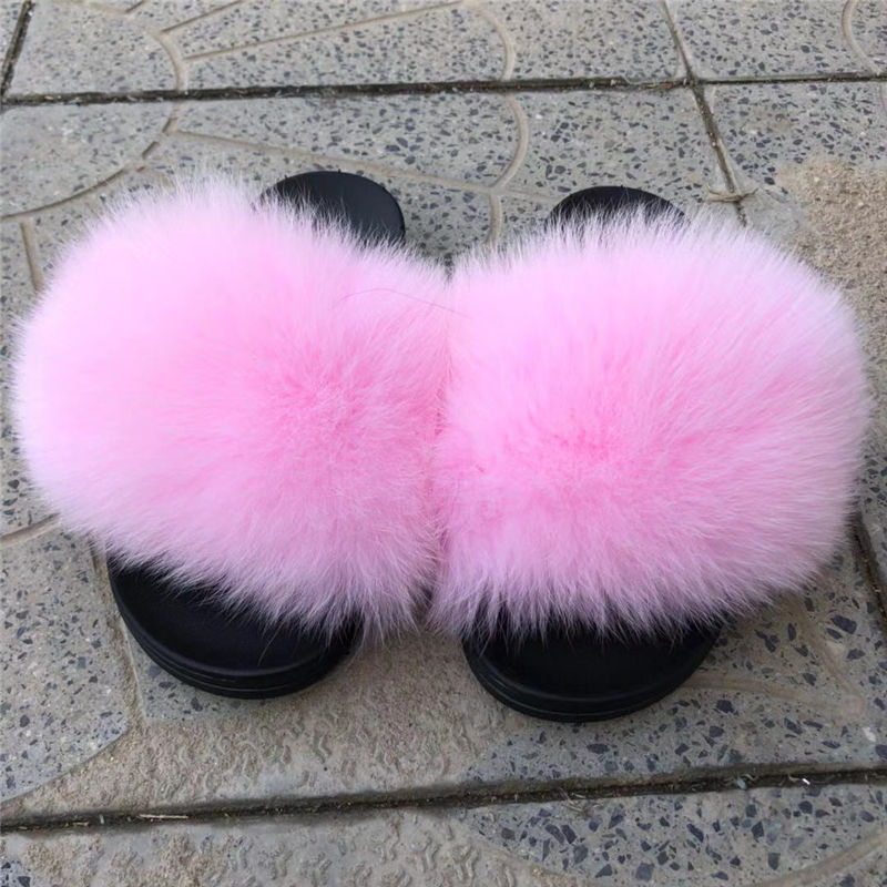 fashion lady slipper handmade popular style real fur slipper fur women slipper