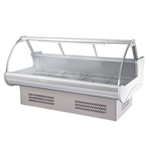 Curved front glass meat showcase deli refrigerator