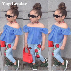 Top Leader INS Girl Clothes Set Cowboy Set One Shoulder Rose Print Top + Denim Pants Two-piece Suit Kids Clothes
