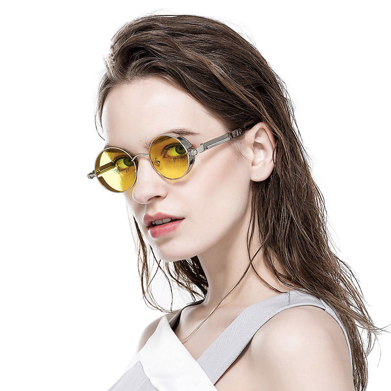 Unisex UV400 Spring Frame Sun Shades Retro Round Steampunk Sunglasses Men Women