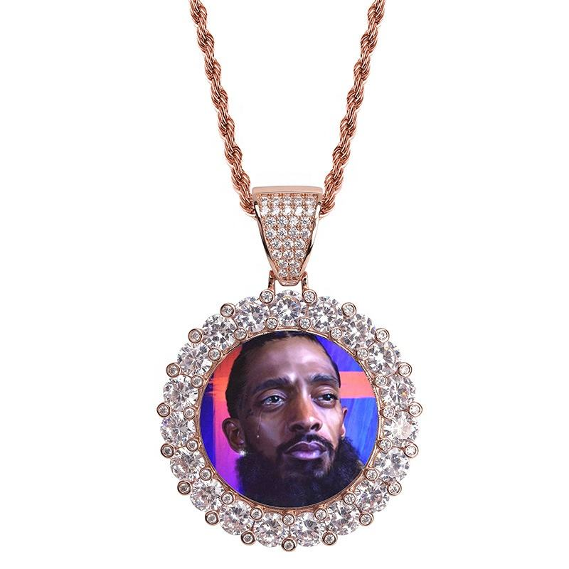 Custom Photo Memory Medallions Solid Pendant Necklace With Tennis Chain HipHop Jewelry Personalized Cubic Zirconia Chains Gift