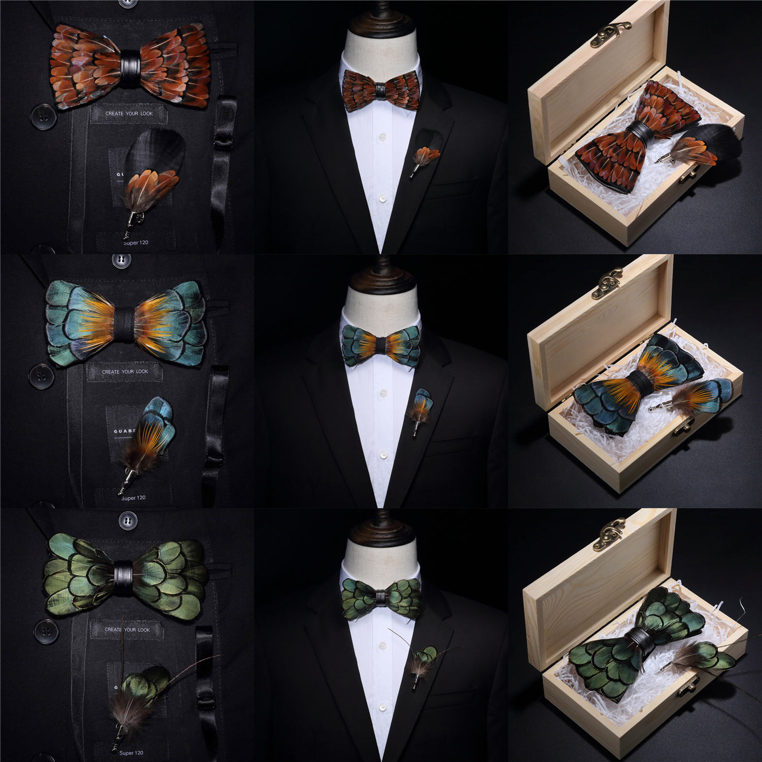 Original USA Design Hand Made Brand Natural Brid Feather Exquisite Bow Tie Brooch Pin Set