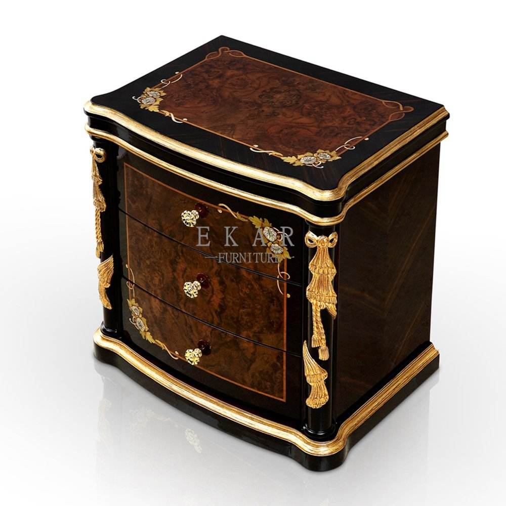 Royal High Gloss Finished Ebony Veneer Bedside Luxury Nightstand Table