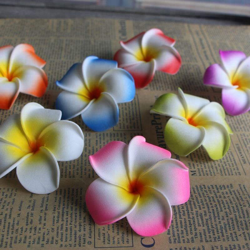 Wholesale 4cm 5cm 7cm 9cm PE wedding decorative foam plumeria hawaiian ear flower artificial frangipani