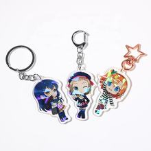 Printed charms acrylic key chain with epoxy hologram keychain Vograce