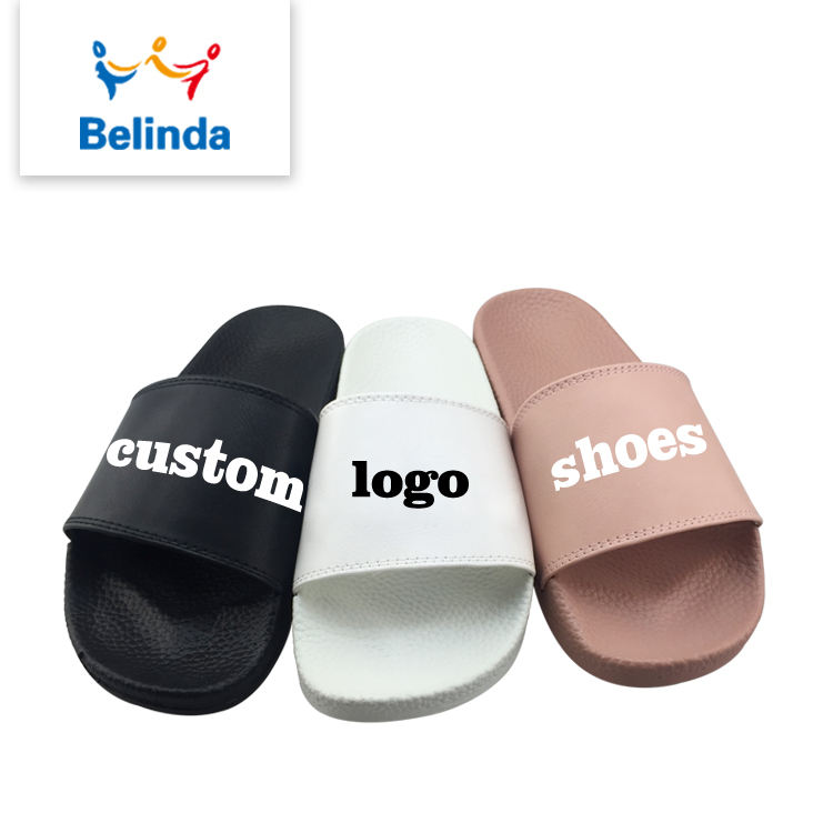 Designer PU Shoes Lady Slide Sandal Made Printed Logo Woman Custom Slippers