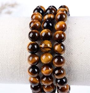 Natural 8 Mm Cantik Kuning Tiger Eye Semi Mulia Batu Permata Kristal Penyembuhan Stretch Beaded Gelang Unisex