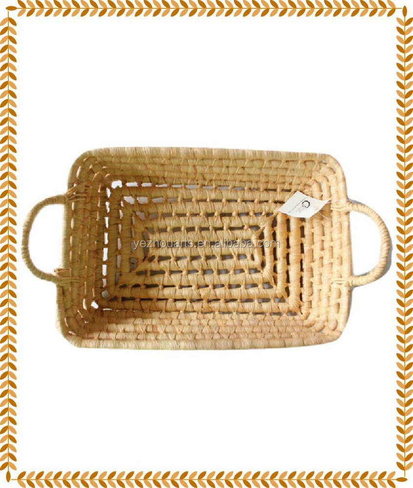 Natural Corn Husk Bread Basket Fruit Basket Rectangle Receive Basket