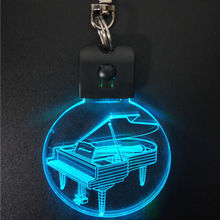 Piano Music Instruments Laser Engraved Acrylic Led Keychain Keyring 3D lamp night lights