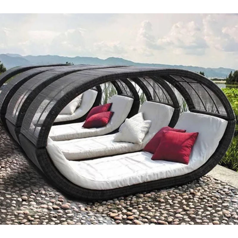 patio garden outdoor wicker sun bed chaise lounge rattan daybed furniture