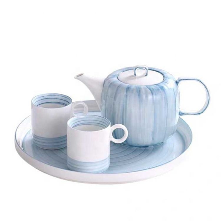 Afternoon tea time unique europe ceramic teapot and cup sets with stand