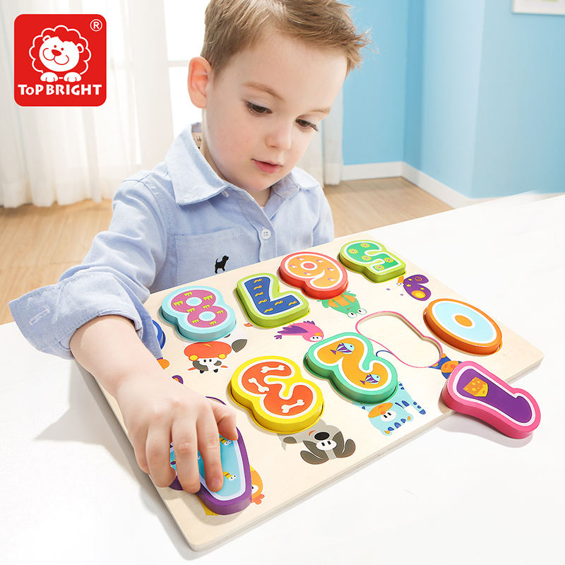Top bright 3d puzzle for childrenwooden animals numbers wood puzzle puzzles for children 120325