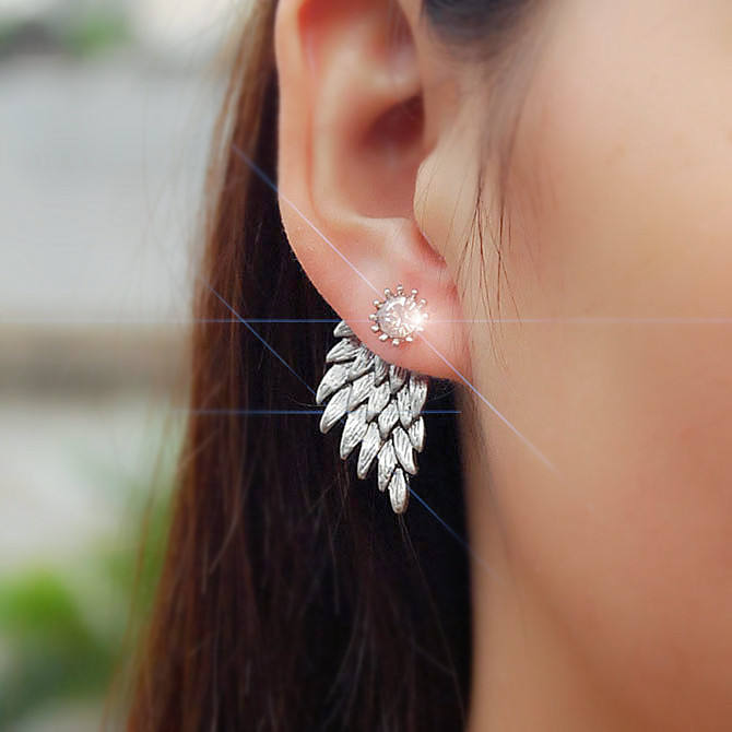 Koreaanse fashion charm sieraden Retro stereoscopische angel wings earring studs oorbellen legering veer insert shaped stud oorbellen