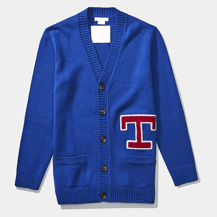 OEM V Neck Knitted loose oversize Custom embroidery chenille letter patches knitted knitwear sweater letterman cardigans for men