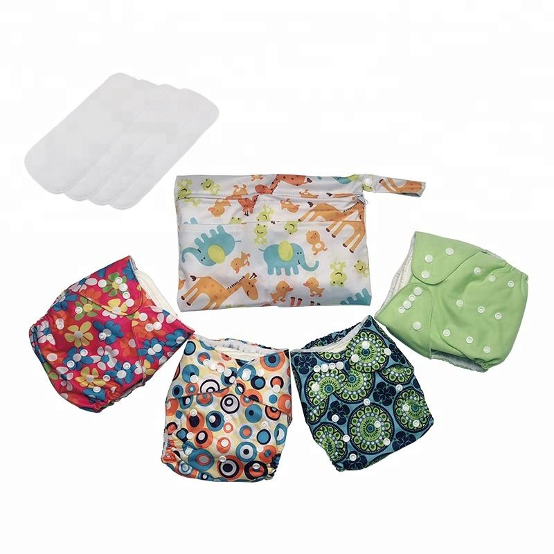 Popfish 9pcs/set Washable Cloth Baby Diaper In Stock