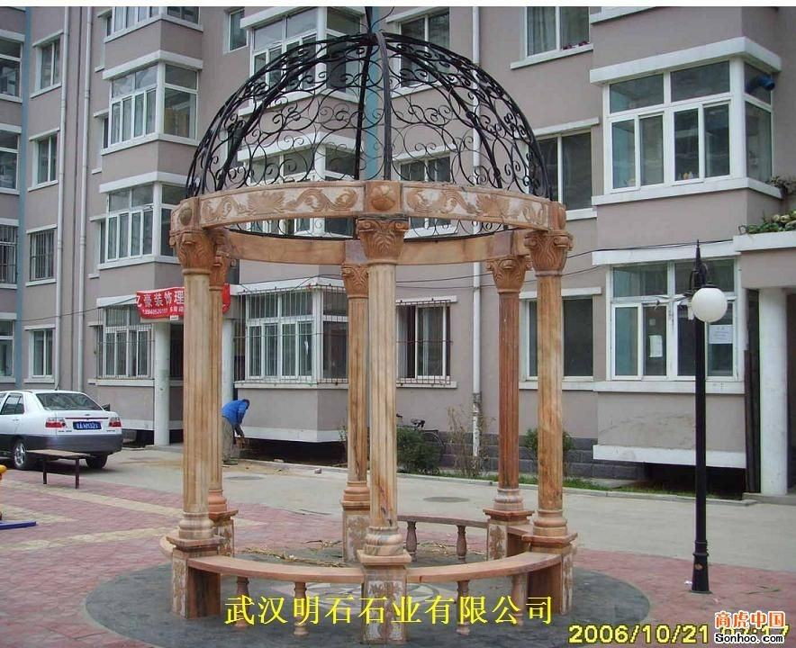 yellow marble garden gazebo sculpture for decoration
