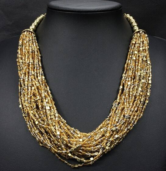 2015 multi layer bead necklace latest design beads necklace N3708
